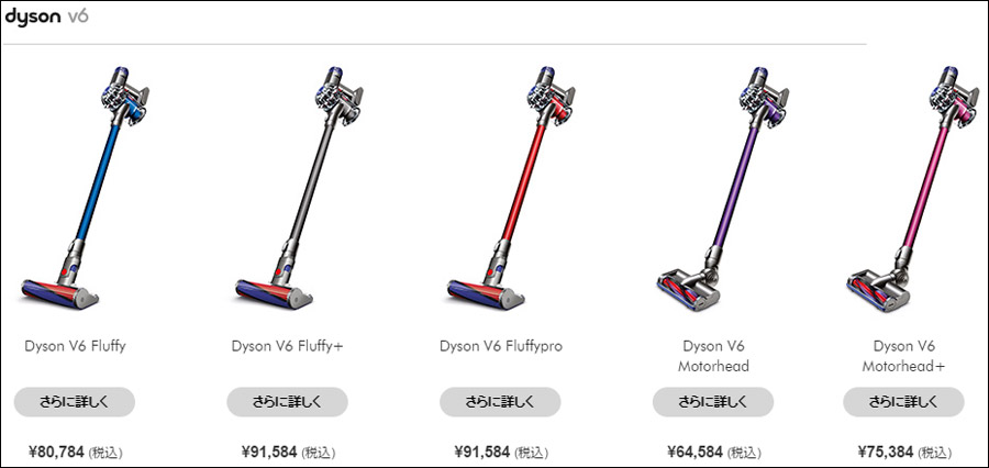 Dyson V6の「Fluffy」「Fluffypro」「Motorhead」の違い