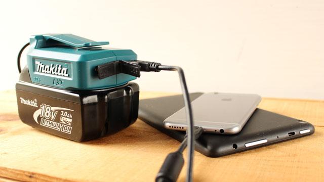 マキタや日立工機のバッテリーでスマホやアイフォンを充電出来るUSBアダプター