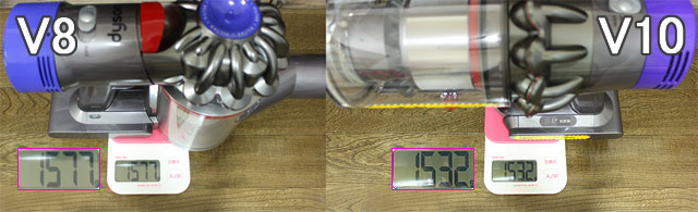ダイソンV8とV10の本体重量