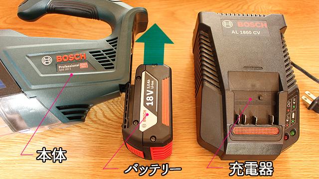 GAS18V-1の充電器(AL1860CV)とバッテリー(GBA18V(3.0Ah))