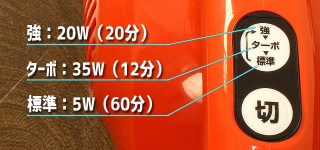 通販生活限定モデルのマキタのターボ・60(吸込仕事率と連続使用時間)