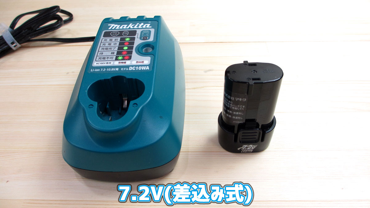 マキタ-リチウムイオンバッテリー(差込式)の種類(7.2V)