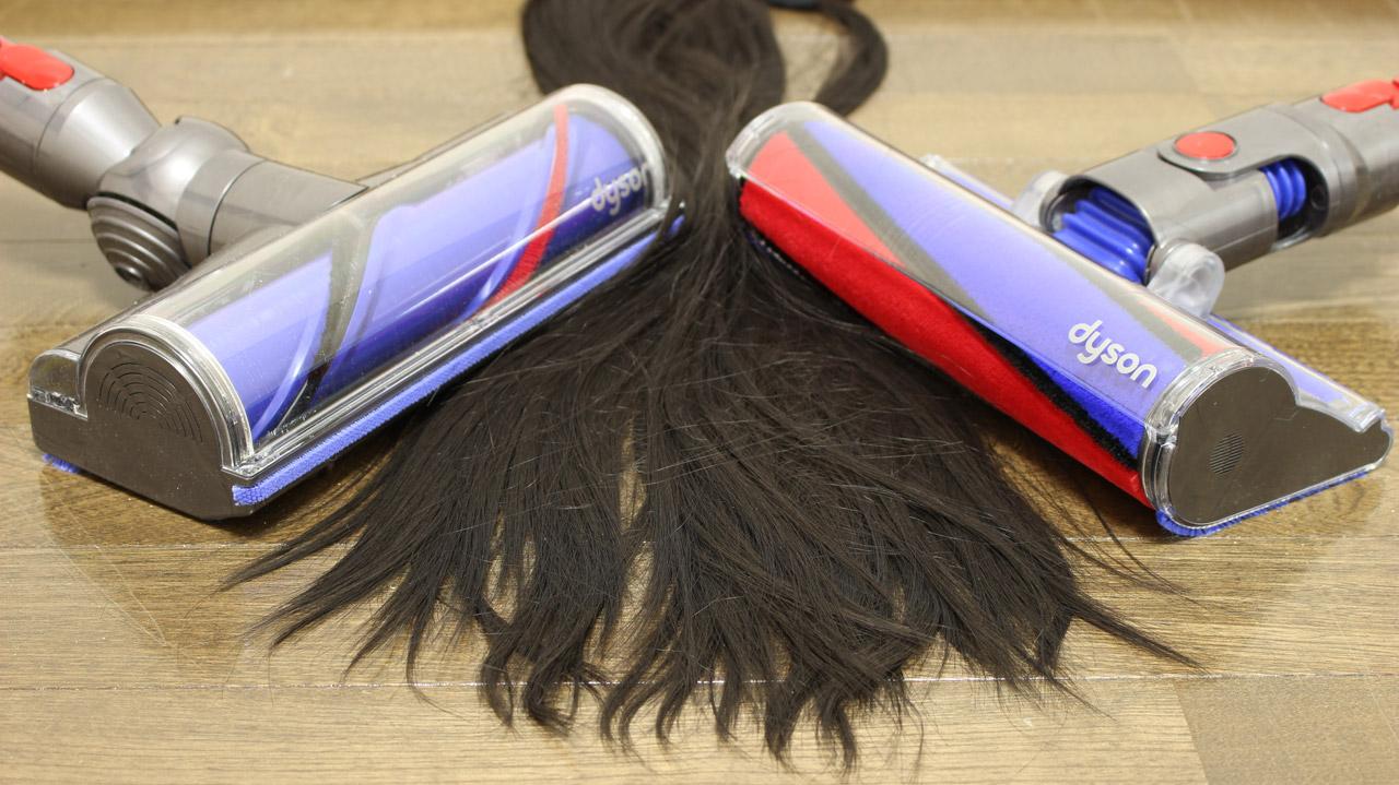 ダイソン V11 吸引力テスト(髪の毛・糸くず)
