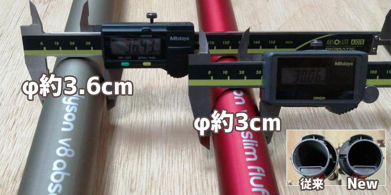 V8 Slim Fluffy ストレートパイプ(延長管)の直径