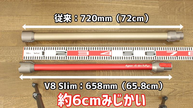 V8 Slim ストレートパイプ(延長管)の長さ