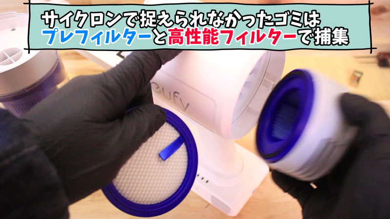 Eufy HomeVac S11 Go(サイクロン構造の仕組み)