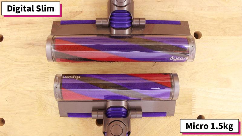 Dyson MicroとDigital Slim(クリーナーヘッドのサイズ 比較)