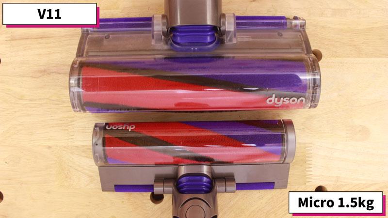Dyson MicroとV11(クリーナーヘッドのサイズ 比較)