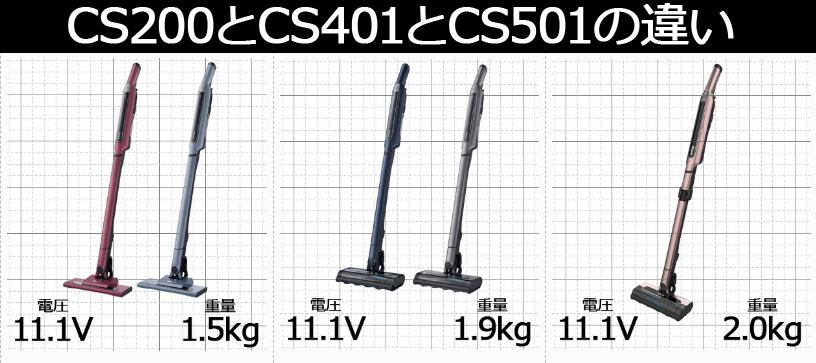 CS200JとCS401JとCS501Jの違い