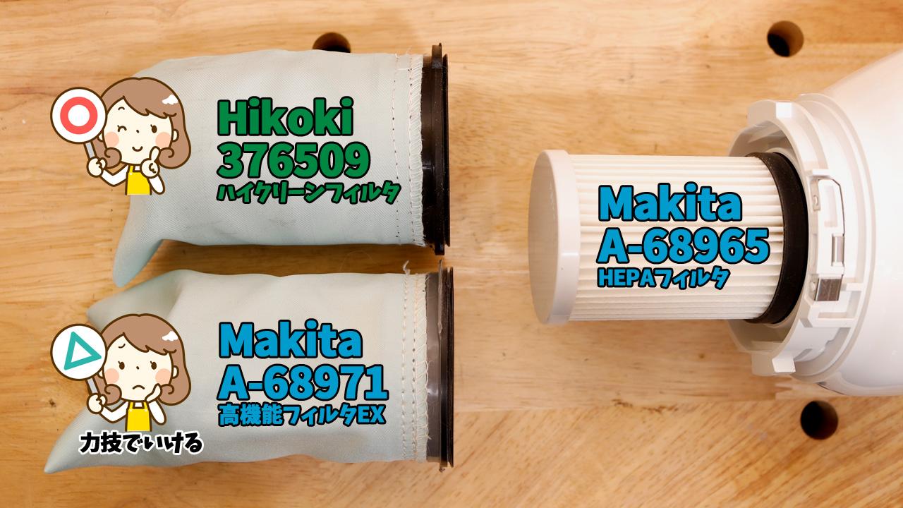 Makitaの高機能フィルターEX(A-68971)+HEPAフィルター(A-68965)
