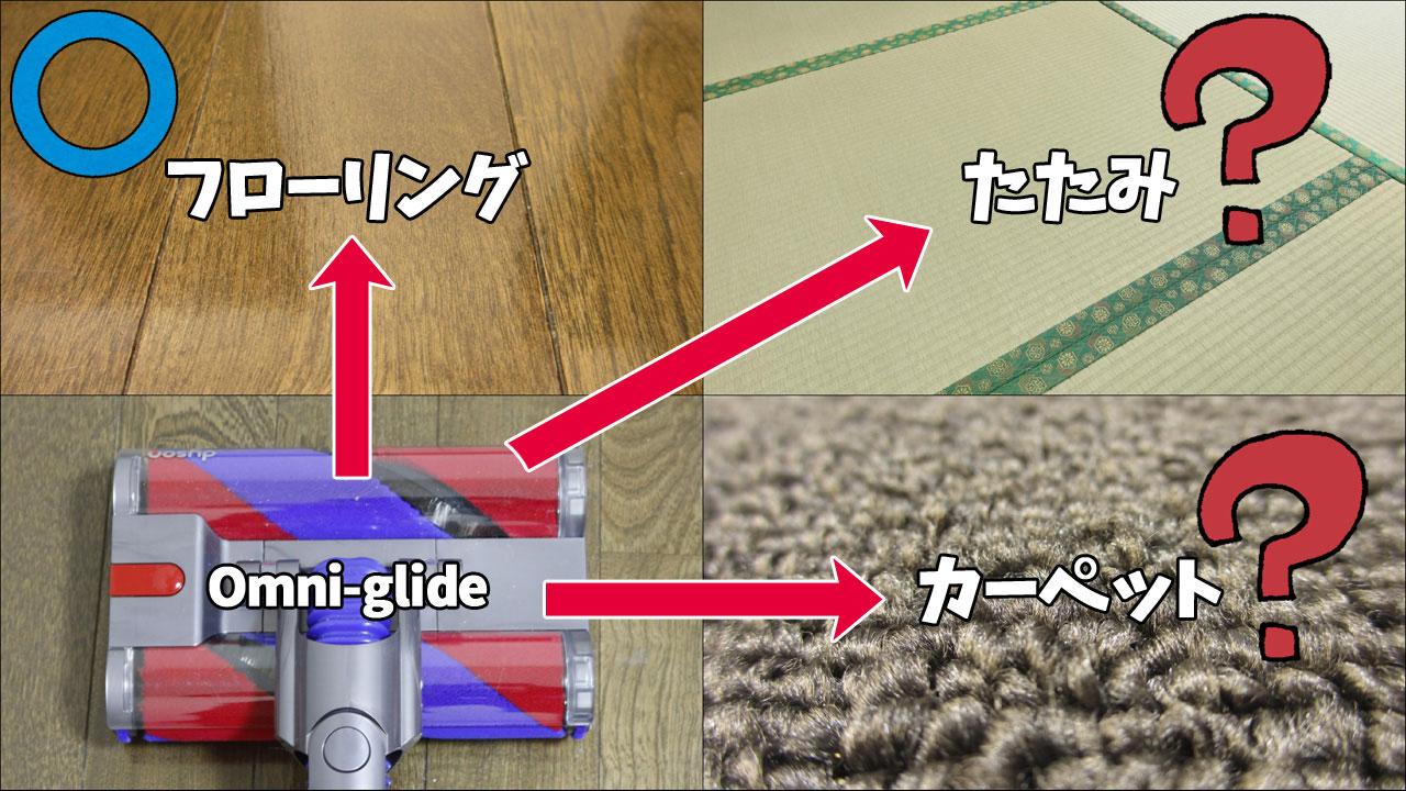 Dyson Omni-glide(カーペット/畳)検証